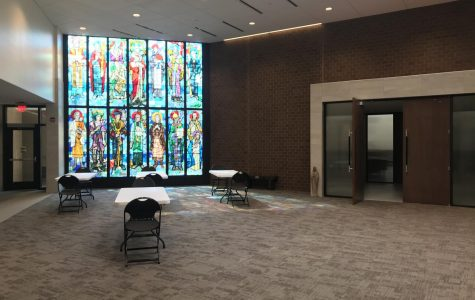The Narthex has tables out to make confession socially distanced.