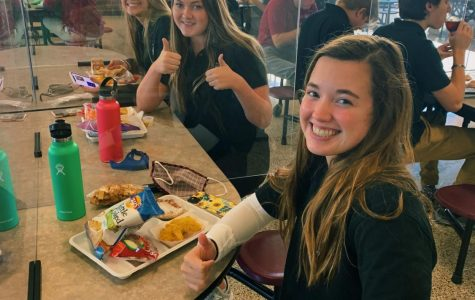 Seniors Peyton Dueling, Ellie Hurley, and Anna Asher enjoy their free Maroon Meal.