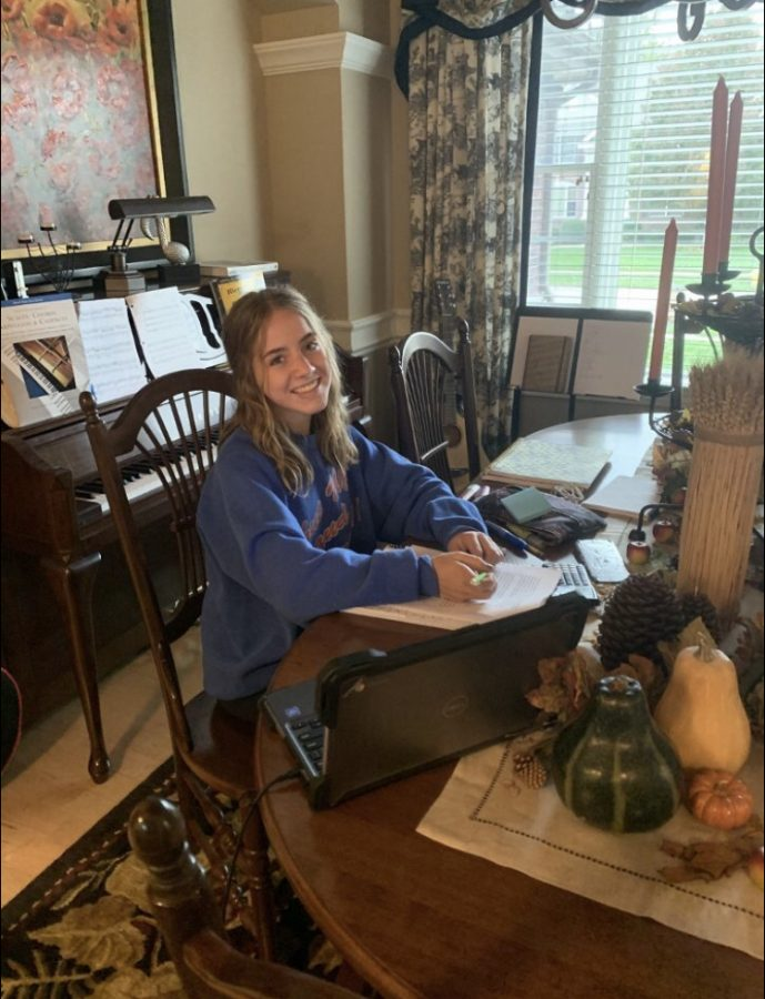 Liv Hall (9) working diligently from home.