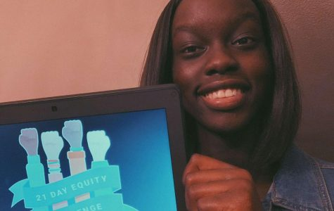 Adowek Ajoung (12) showing her appreciation for the 21 Days of Equity Challenge.