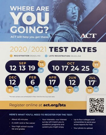 Dates for all the testing for the 2020-2021 school year.