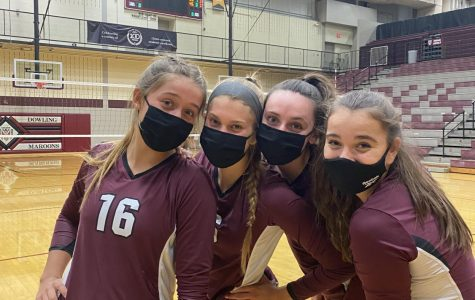 Tora Peterson, Lydia Cleghorn, Sarah Forey, and Anna Miller before one of their early season games.