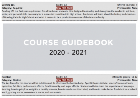 Course descriptions for two brand new Dowling classes in the 2020-21 course book.