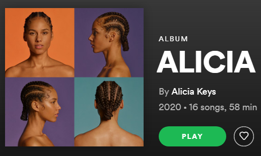 Spotify's home page for Alicia Key's seventh studio album,