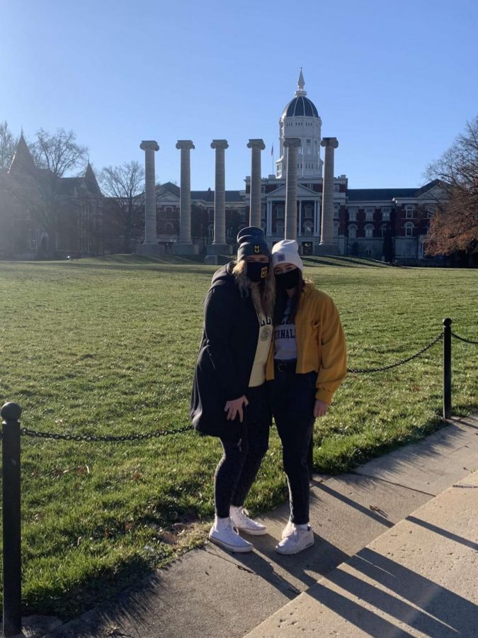 Seniors Caroline Schultz and Paige Hobbs touring Mizzou over break. Photo courtesy of Caroline Schultz.
