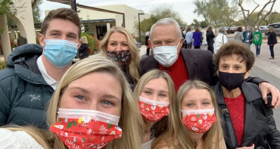 Julia Moore (10) accompanied by her family staying healthy on vacation by wearing masks.