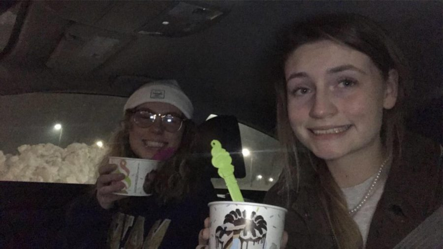 Juniors, Eleanor Meek and Olivia Spracklin drove around eating ice cream last December