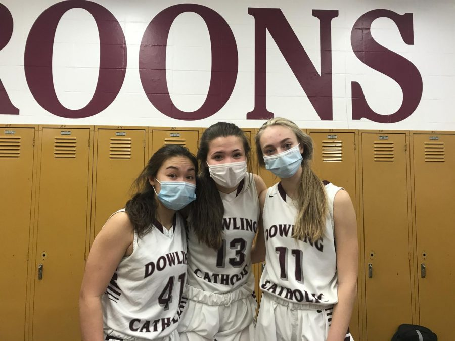 Sophomores Shea Berger, Kadence Baccam, and Abby Pottoff after their last game of the season.