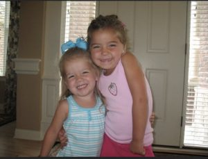 Liv (9) and Maddy (11) Hall pictured together when they were little, just as close as they are now