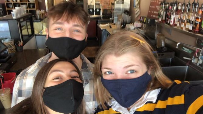 Coleman and her fellow co-workers during a shift at Java Joe's Coffee House.