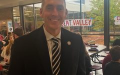 Peter Miklo walks down the cafeteria to supervise and connect with students.